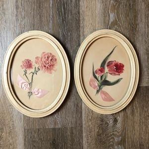 Vintage One of a Kind Oval Rose Hangings
